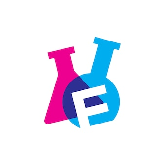 E lettre laboratoire verrerie bécher logo vector illustration icône