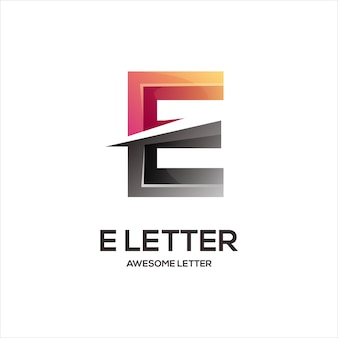 E lettre logo initiales abstrait dégradé coloré