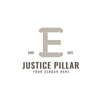 E lettre logo justice et cabinet d'avocats pilier audacieux dessin au trait professionnel
