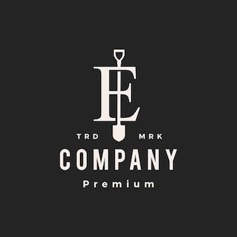 E lettre marque pelle bêche hipster logo vintage icône illustration vectorielle