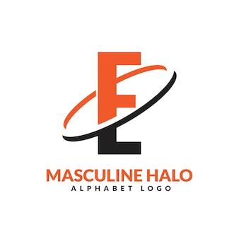 E lettre orange et noir anneau géométrique masculin logo vector illustration icône