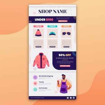 E-mail de commerce électronique créatif avec illustrations
