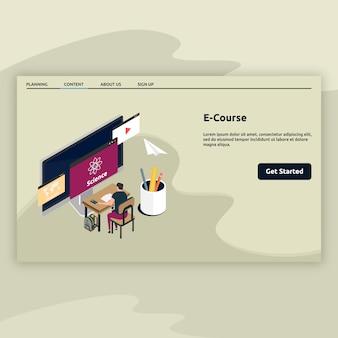 E page de destination du cours en style isométrique