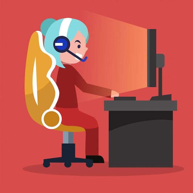 E-sport girl gamer en direct streaming jeu vidéo en ligne