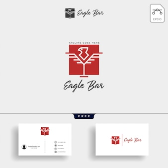 Eagle bar drink premium logo illustration vectorielle modèle