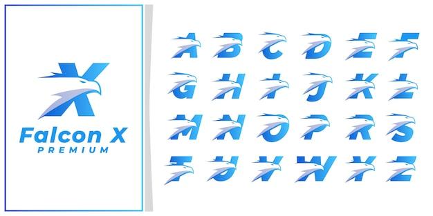 Eagle head initial letter logo premium blue silver
