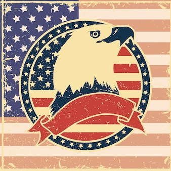 Eagle in usa flag avec emblème vintage