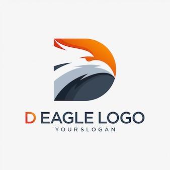 D eagle logo animal lettre