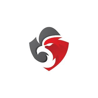 Eagle security logo falcon bird head et shield vector icon