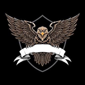 Eagle tient le logo du ruban