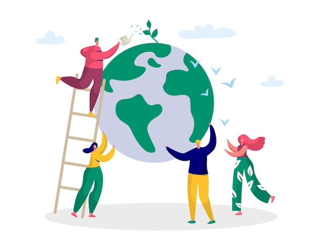 Earth day man save green planet environment.