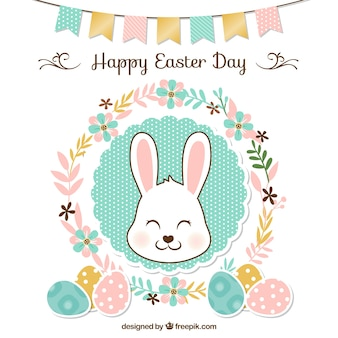Easter background floral avec guirlande et le lapin mignon