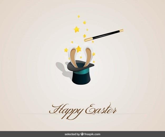 Easter background heureux avec un lapin à l'intérieur d'un chapeau