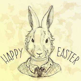Easter card heureux avec hippie lapin croquis