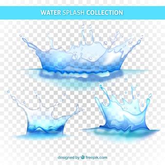 L'eau éclabousse la collection sans arrière-plan