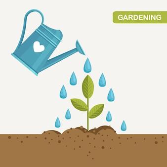 L'eau de jardin peut arroser les plantes, les jeunes arbres
