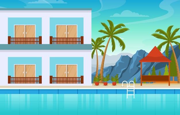 Eau piscine extérieure hôtel nature détente vue illustration