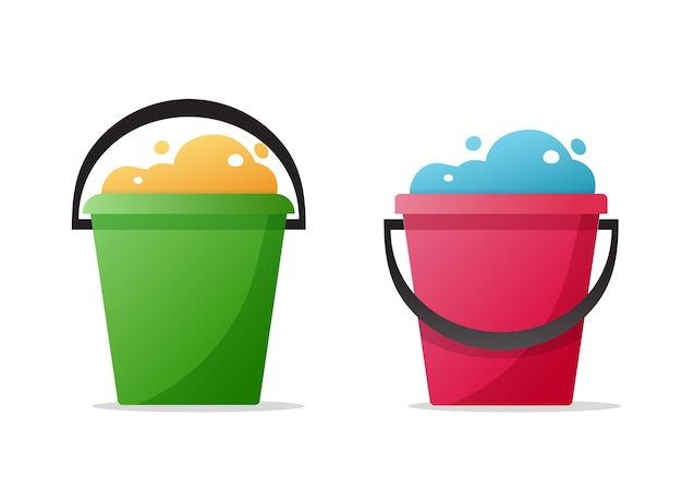 Eau de seau, seau plein de bulles de mousse et jeu d'icônes de dessin animé plat poubelle