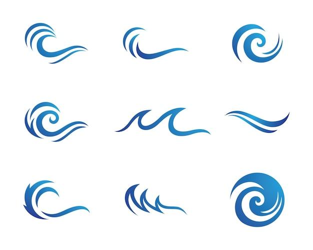 L'eau vague symbole et icône logo template vecteur