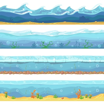 L'eau des vagues de l'océan, la mer sans soudure