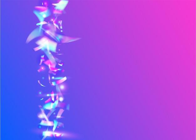 Éblouissement de cristal. feuille de vacances. texture transparente. fond disco bleu. fête éclatée. dégradé de noël au laser. art de luxe. paillettes arc-en-ciel. éblouissement cristal violet