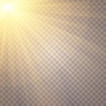 Éblouissement du soleil sur fond transparent. effets de lumière luminescente.