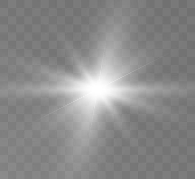 Éblouissement des rayons de l'espace des étoiles à effet de lumière brillante