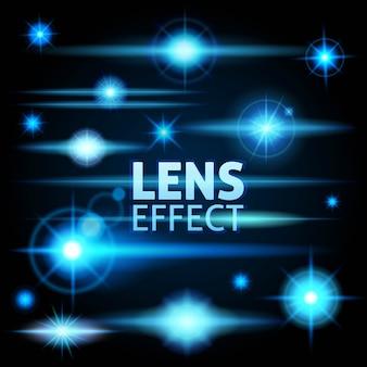 Éblouissement réaliste et rayons lumineux flash de lumière bleue