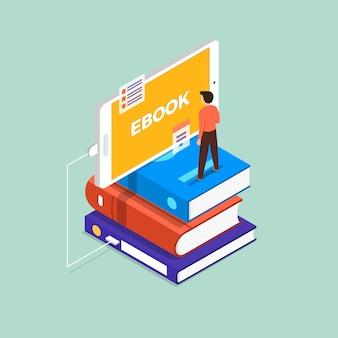 Ebook concept. l'homme se tient debout sur un livre et un appareil mobile. illustrer.
