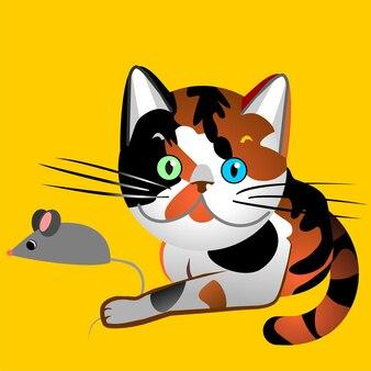 L'écaille de chat britannique a attrapé la souris, le rouge et le noir, avec des yeux bleus et verts multicolores, dessin, illustration, image vectorielle