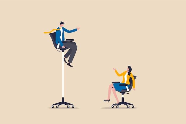 Écart entre les sexes et inégalités de travail, écart de rémunération ou avantage pour l'homme par rapport à la femme dans la carrière.