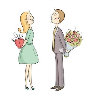 Échange de cadeaux entre partenaires.