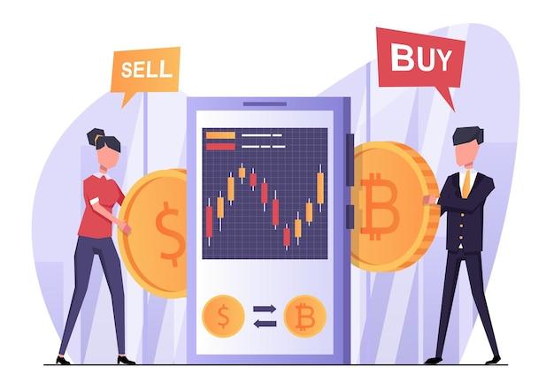 Échange de crypto-monnaie la femme vend de la monnaie l'homme achète de la crypto-monnaie