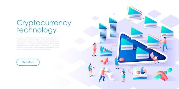 Échange de crypto-monnaie de page d'atterrissage isométrique ou de concept plat d'exploitation minière
