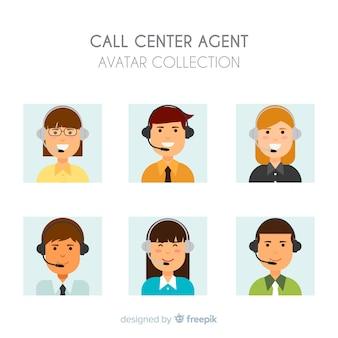 Échantillon créatif d'avatars de centre d'appels
