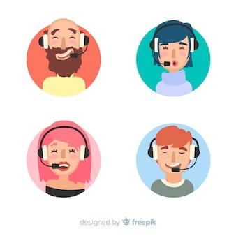 Échantillon plat d'avatars du centre d'appels