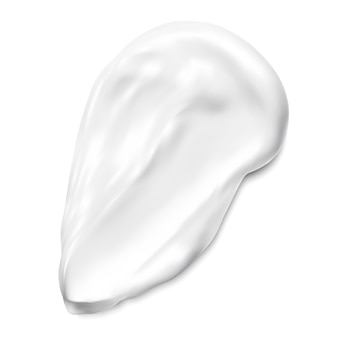 Échantillon de texture de crème pour le visage. échantillon de frottis cosmétique. coup de pinceau blanc de gel de beauté ou de fond de teint crémeux. élément de tourbillon de lait mou d'argile ou de correcteur facial. illustration graphique réaliste