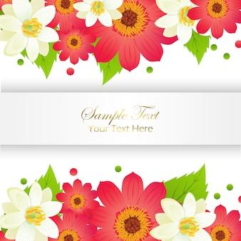 Échantillon de yext ici appy carte de voeux de vacances avec cadre brillant et ensemble de fleurs