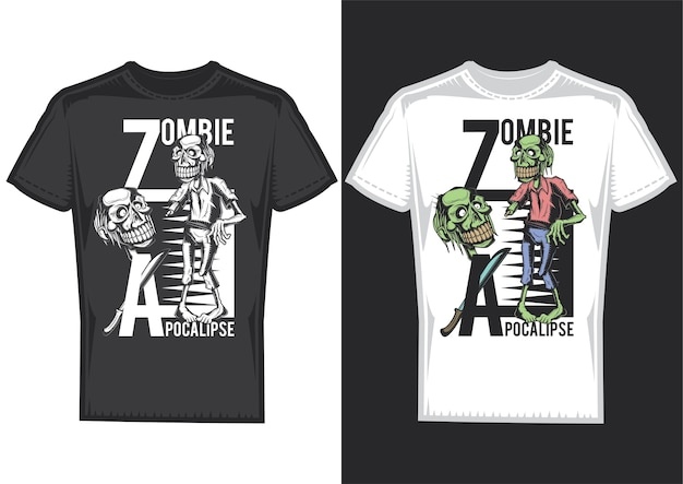 Échantillons de conception de t-shirt avec illustration de zombies.