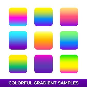 Des échantillons de gradient colorés