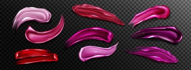Échantillons de rouge à lèvres, taches de brillant à lèvres liquide