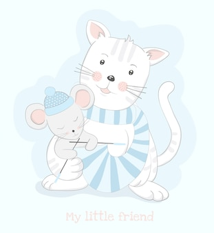 Écharpe de tricot de dessin animé mignon chat et rat