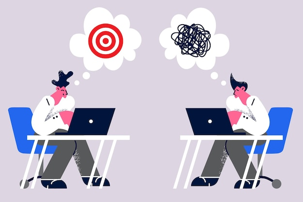 Échec commercial, frustration ou concept de réussite. les jeunes gens d'affaires travaillent un avec un visage heureux et un succès en affaires et un autre avec un visage frustré ayant un désordre dans la tête illustration vectorielle