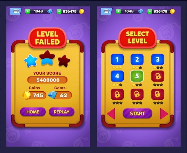 Échec du niveau du jeu fantastique et écran de sélection du niveau