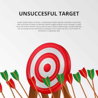 Échec et échec de la flèche de tir à l'arc sur le modèle de carte cible 3d