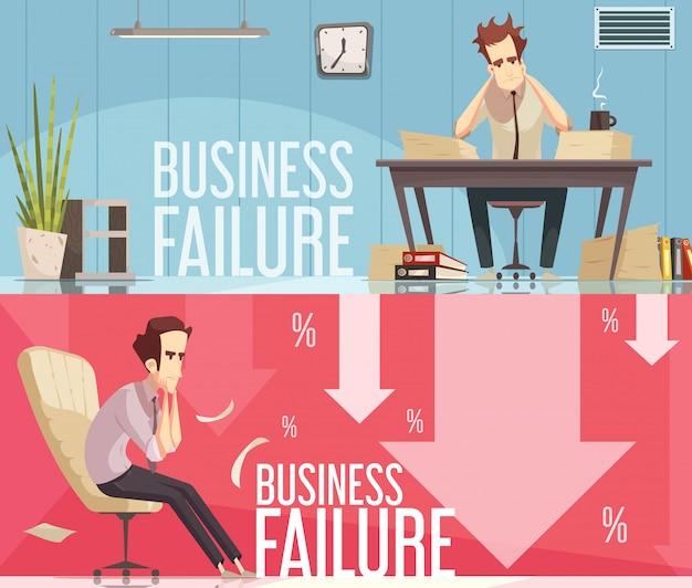 Échec de l'entreprise 2 affiches rétro cartoon