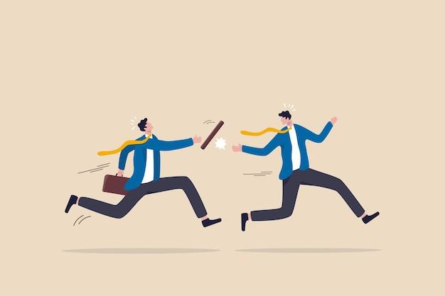 Échec de la passe du bâton ou erreur causant la perte de l'entreprise, une mauvaise transition de travail