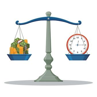 Échelle balance poids illustration temps et argent.