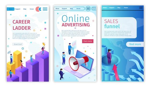 Échelle de carrière, publicité en ligne, entonnoir de ventes.