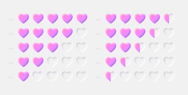 Échelle de classement des commentaires des clients rose avec des coeurs sur blanc